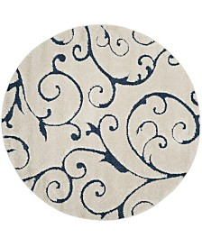 Safavieh Shag Cream and Blue 9' x 9' Round Area Rug