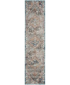 Aria Beige and Blue 2' x 6' Runner Area Rug