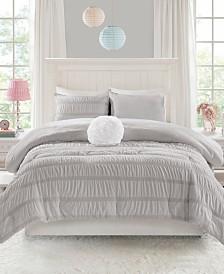 Mi Zone Bella Full/Queen 4 Piece Ruched Seersucker Comforter Set with Microlight Reverse