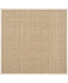 Natural Fiber Natural and Beige 4' x 4' Sisal Weave Square Area Rug