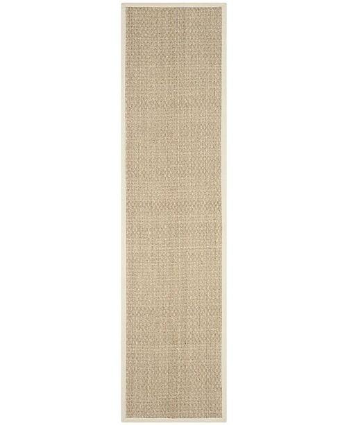 "Safavieh Natural Fiber Natural and Ivory 2'6"" x 12' Sisal Weave Runner Area Rug"