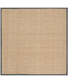 Natural Fiber Natural and Dark Gray 10' x 10' Sisal Weave Square Area Rug