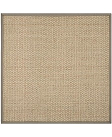 Natural Fiber Natural and Gray 4' x 4' Sisal Weave Square Area Rug