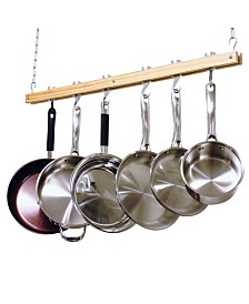 Cooks Standard Ceiling Mounted Wooden Pot Rack, Single Bar, 36""