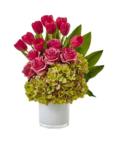 Nearly Natural Tulip, Roses and Hydrangea Silk Arrangement