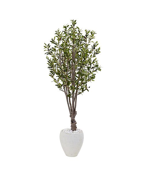 Nearly Natural 5' Olive Artificial Tree in White Oval Planter