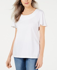 Karen Scott Braided-Neck T-Shirt, Created for Macy's