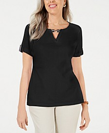 Printed Ribbon-Trim Top, Created for Macy's