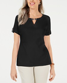 Karen Scott Printed Ribbon-Trim Top, Created for Macy's