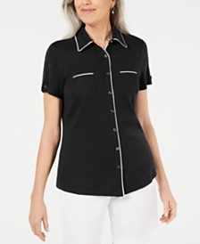 Karen Scott Button-Front Shirt