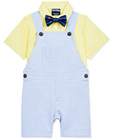 Nautica Baby Boys 3-Pc. Shirt, Shortalls & Plaid Bowtie Set
