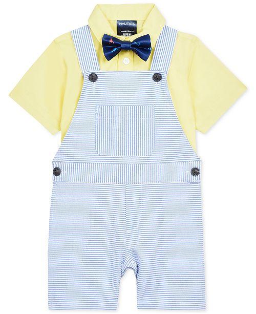 e0b16096700 Nautica Baby Boys 3-Pc. Shirt, Shortalls & Plaid Bowtie Set & Reviews ...