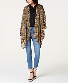 INC Leopard-Print Knit Ruana, Created for Macy's