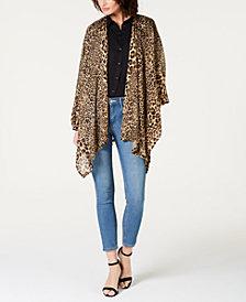 INC Leopard-Print Knit Ruana, Created for Macy's