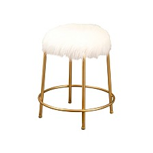 Anastassi Gold and Faux Fur Stool, Quick Ship