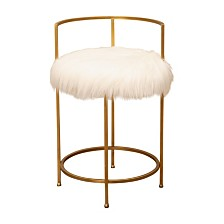 Anastassi Gold and Faux Fur Counter Stool, Quick Ship