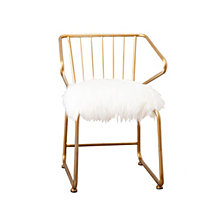 Anastassi Gold and Faux Fur Dining Chair, Quick Ship