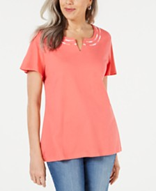 Karen Scott Petite Embroidered Split-Neck Top, Created for Macy's