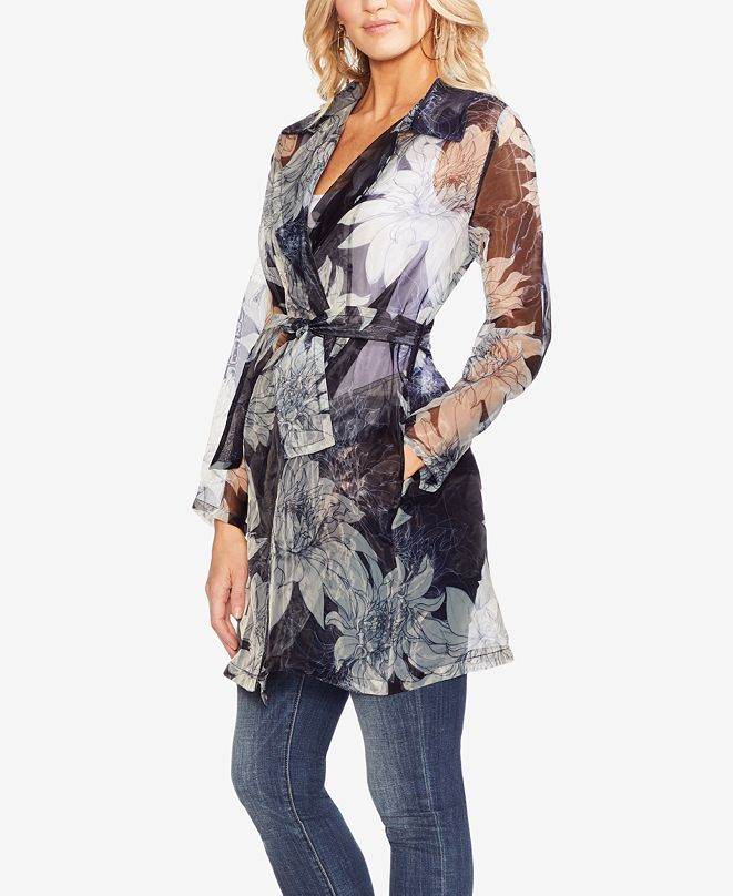 Vince Camuto Pagoda Blossoms Printed Sheer Jacket