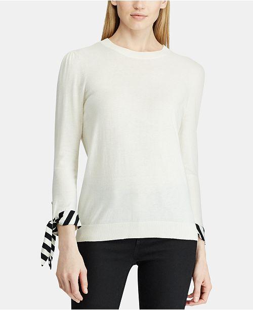 Lauren Ralph Lauren Striped-Cuff Sweater
