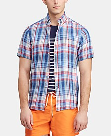 Polo Ralph Lauren Men's Big & Tall Classic Fit Plaid Linen Shirt