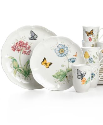 main image ...  sc 1 st  Macyu0027s & Lenox Butterfly Meadow 18-Piece Dinnerware Set + 2 Bonus Mugs ...