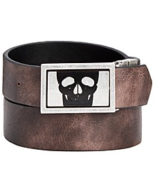 INC Men's Skull Buckle Reversible Belt, Created for Macy's