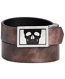 INC Men's Skull Buckle Reversible Belt, Created for Macy's