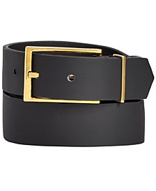 INC Men's Black Matte Gold Buckle Belt, Created for Macy's