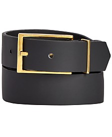 I.N.C. Men's Black Matte Gold Buckle Belt, Created for Macy's