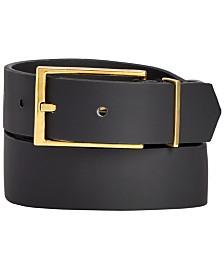 I.N.C. Men's Black Matte Gold Buckle Belt, Created for Macy's