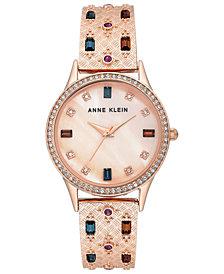 Anne Klein Women's Rose Gold-Tone & Crystal Bangle Bracelet Watch 32mm