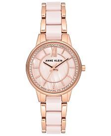 Anne Klein Women's Light Pink Ceramic & Rose Gold-Tone Bracelet Watch 32mm