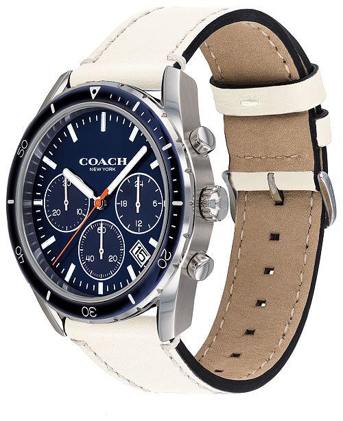 d5da53a10 ... COACH Men's Chronograph Thompson Sport Chalk Leather Strap Watch ...