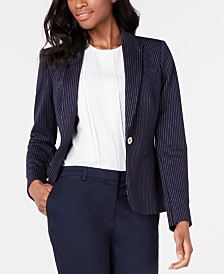 Tommy Hilfiger Pinstriped One-Button Blazer
