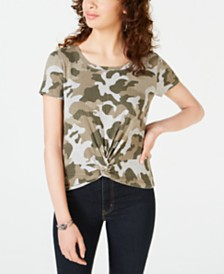 Hippie Rose Juniors' Camouflage Twist-Front Top