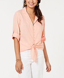 Juniors' Tie-Front Textured Shirt