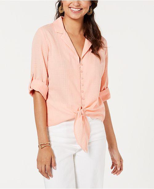 BCX Juniors' Tie-Front Textured Shirt