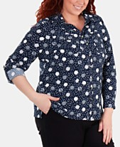 3d111630fc3d7 NY Collection Plus Size Printed Utility Shirt