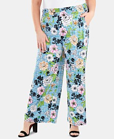 NY Collection Plus Size Smocked-Waist Printed Pants