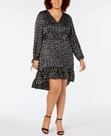 Betsey Johnson Plus Size Polka Dot Cherry Ruffle Dress