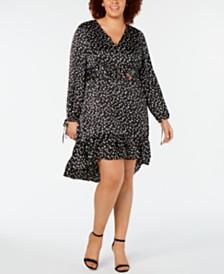 Betsey Johnson Plus Size Polka Dot Cherry Ruffle Dress