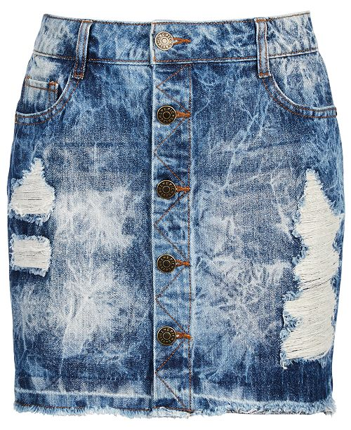 Epic Threads Big Girls Button-Front Ripped Cotton Denim Skirt, Created for Macy's