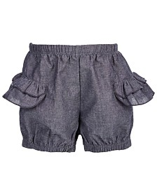First Impressions Toddler Girls Cotton Chambray Ruffle Shorts, Created for Macy's