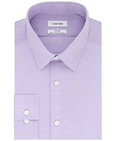 Calvin Klein Men's STEEL Slim-Fit Non-Iron Performance Stretch Purple Solid Dress Shirt