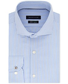 Tommy Hilfiger Men's Slim-Fit TH Flex Non-Iron Supima Stretch Seersucker Stripe Dress Shirt