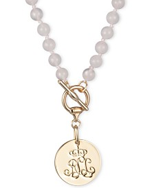 "Lauren Ralph Lauren Gold-Tone Stone-Beaded Signature Disc 17"" Pendant Necklace"