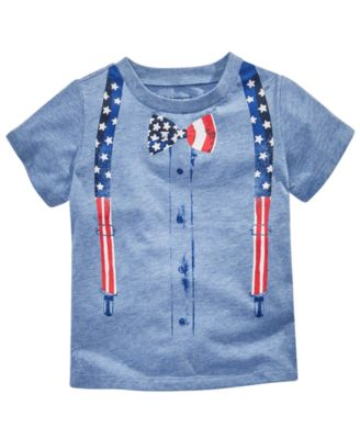 Patriotic T-Shirt Baby Boy Blue stripes stars 4th of July First Impressions USA