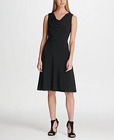 DKNY Cowlneck Fit & Flare Dress, Created for Macy's