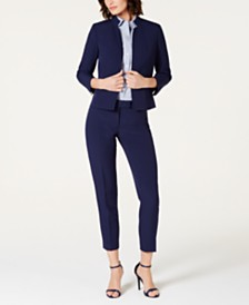 Anne Klein Cropped Stand-Collar Jacket, Striped Short-Sleeve Button-Down Blouse & Extend-Tab Pants